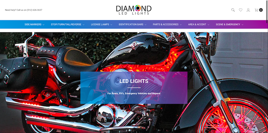 Screenshot of diamondledlights.com hero image / homepage