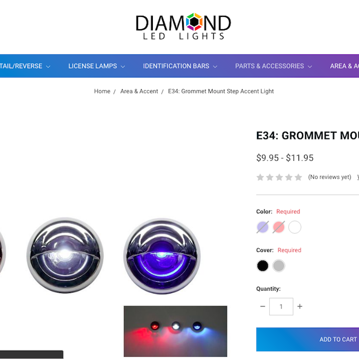 Screenshot of diamondledlights.com E34 grommet-mount lights product listing