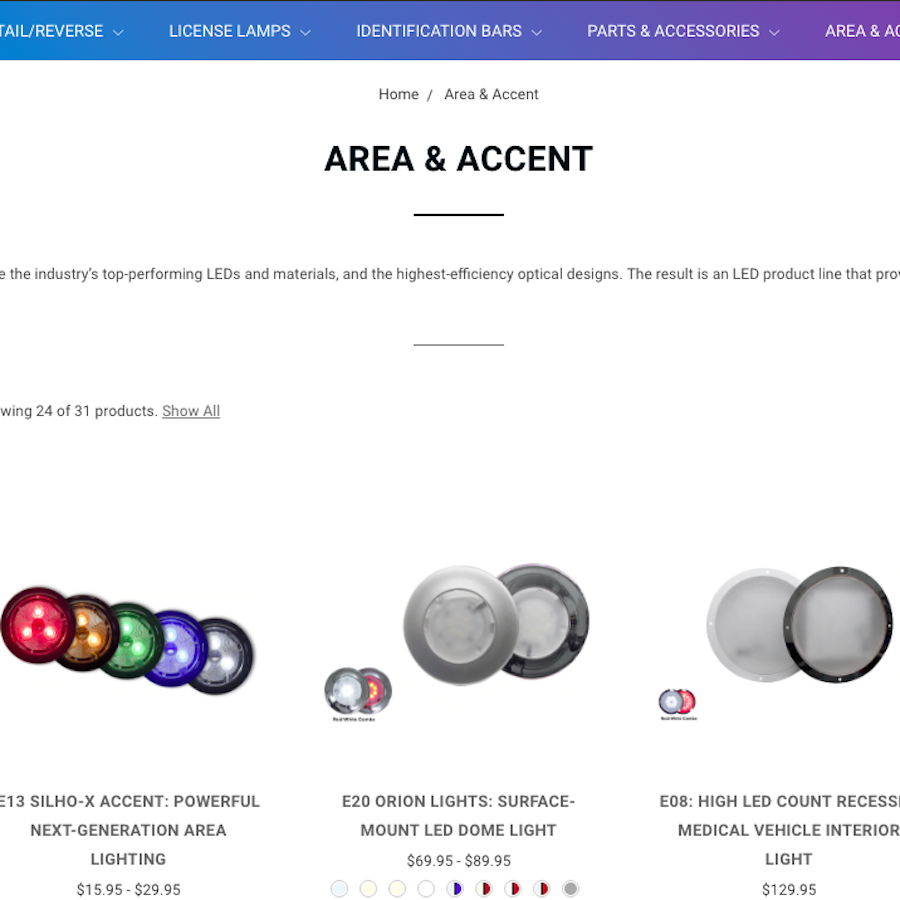 Screenshot of diamondledlights.com area & accent lights