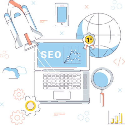 Clipart symbolizing search engine optimization