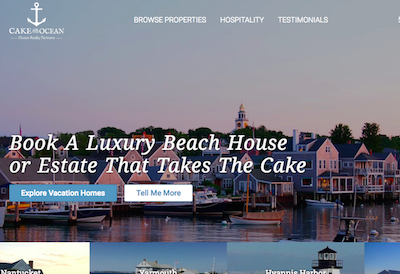 Screenshot of cakeontheocean.com homepage for portfolio